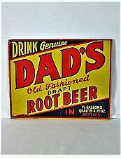 """Buy VINTAGE RARE 1940s DADS ROOT BEER SODA POP BOTTLE GAS STATION 14"""" METAL SIGN"""