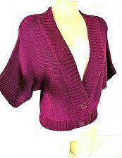 Buy Worthington womens Medium S/S purple CROPPED 2 button cardigan sweater (G)