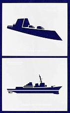 "Buy U.S. Navy Ships-Destroyers- 2 Piece Stencil Set 14 Mil 8"" X 10"" Painting /Crafts"
