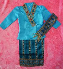 Buy Sky Blue Lao Laos Girl Tradition Dress Clothing 3/4 SL Blouse Sinh Skirt Size 7