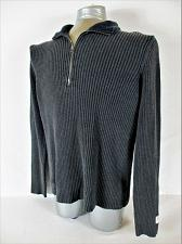 Buy CONVERSE mens ONE STAR Large GRAY 1/4 ZIP COTTON HEAVYWEIGHT RIBBED SWEATER (W)P