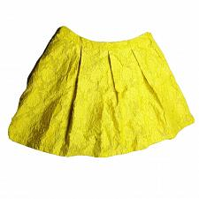 Buy Who What Wear Womens A Line Pleated Skirt 24W Yellow Floral Embroidered Lined