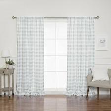 Buy Faux Linen Checkered Grommet Top Unlined Curtains Livingroom Bedroom Patio Door