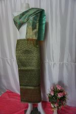 Buy Seaweed Green Thai Lanna Synthetic Silk sinh Skirt Pha Bieng Tailor to your size
