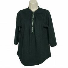 Buy Quacker Factory Womens Rhinestone Zippered Top Size Medium V Neck Black