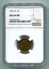 Buy 1912-S LINCOLN CENT PENNY NGC MS 64 BN NICE ORIGINAL COIN PREMIUM QUALITY PQ