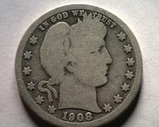 Buy 1908-O BARBER QUARTER DOLLAR GOOD+ G+ NICE ORIGINAL COIN BOBS COINS FAST SHIP
