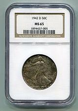 Buy 1942-D WALKING LIBERTY HALF NGC MS 65 NICE TONING NICE ORIGINAL COIN BOBS COINS