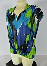 Buy VINCE CAMUTO womens Sz XS sleeveless blue green black SHEER V neck top (A)