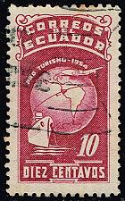 Buy Ecuador #RA74 Globe; Ship and Plane; Used (2Stars) |ECURA74-07XBC