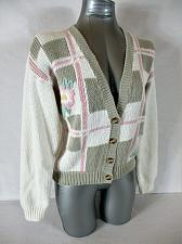Buy RALSEY womens Small L/S ivory taupe BUTTON DOWN knitted cardigan sweater (A6)P