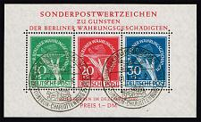 Buy Germany-Berlin #9NB3a Currency Devaluation Souvenir Sheet; Used (4Stars) |DEU9NB003a-