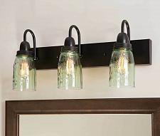 Buy Bath Vanity Lighting Glass Mason Jar 3 Lamp Wall Fixtures Farmhouse Country New