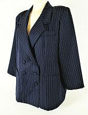 Buy ROAMANS womens Sz 18 navy DOUBLE breasted SILVER PINSTRIPE blazer jacket (C2)