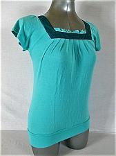 Buy COSTA BLANCA womens Medium S/S GREEN RUFFLE SQUARE NECK STRETCH TOP (A)P