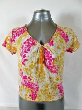 Buy OLD NAVY womens XS S/S PINK YELLOW IVORY RUFFLES V NECK TOP BLOUSE (P)P