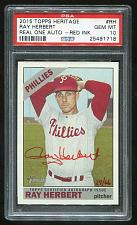 Buy 2015 TOPPS HERITAGE REAL ONE RED AUTO RAY HERBERT PSA 10 GEM MINT (25491718)