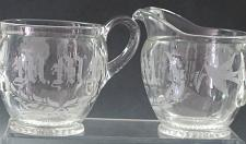 Buy M M M copper wheel engraved bird Cut Glass sugar and creamer, Antique