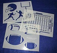 "Buy Football Stencils Mylar 3 Pieces of 14 Mil 8"" X 10"" - Painting /Crafts/ Template"