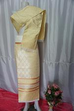 Buy Latte Biege Thai Lanna Synthetic Silk sinh Skirt Pha Bieng Tailor to your size