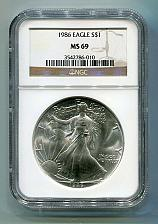 Buy 1986 AMERICAN SILVER EAGLE NGC MS69 BROWN LABEL PREMIUM QUALITY NICE COIN PQ