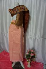 Buy Watermelon Thai Lanna Synthetic Silk sinh Skirt Pha Bieng Tailor to your size