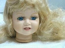 """Buy Vintage Bisque Porcelain Doll Head Flange style 4"""" Blue Eyed Blonde Girl"""