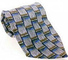 Buy J Garcia Men's Dress Necktie 100% Silk Geometric Blue Brown Gray