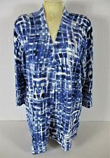 Buy LAURA ASHLEY womens XL L/S blue white black OPEN FRONT cardigan jacket (C4)