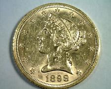 Buy 1898 FIVE DOLLAR LIBERTY GOLD CHOICE ABOUT UNCIRCULATED CH AU NICE ORIGINAL COIN