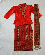 Buy Red Lao Laos Girl Tradition Dress Clothing 3/4 Seeve Blouse Sinh Skirt Size 7