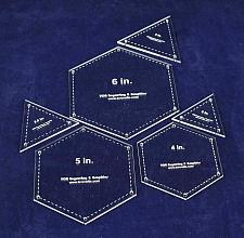 """Buy 6 Piece Quilt Templates Equilateral Triangles & Hexagon Set 1/8"""""""