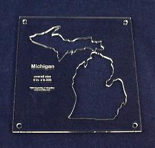 """Buy State of Michigan Template Inside 6"""" X 6.325"""" - Clear 1/4"""" Thick Acrylic"""