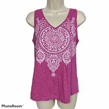 Buy Chicos Womens The Ultimate Tee Tank Top Size 0 Pink Geometric V Neck Sleeveless