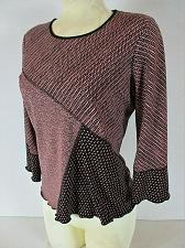 Buy NOTATIONS womens Small 3/4 sleeve dusty rose black SCALLOP HEM stretch top (B8)