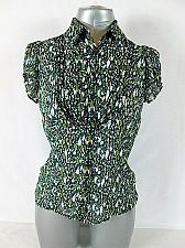 Buy EAST 5TH womens Small CAP SLEEVE GREEN BLACK RUFFLES BUTTON UP TOP BLOUSE (M)P