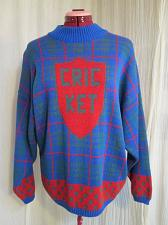 Buy MOUCHE Italy Cricket Blue Plaid Sweater Pullover Jumper New w Tags 38 chest S103