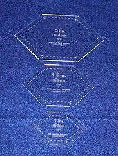 """Buy Flattened Hexagon Templates. 1"""", 1.5"""", 2"""" Sides- Clear 1/8"""""""