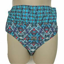 Buy NWT Athena Fold Over Banded Bikini Swimsuit Bottom Size 8 Blue White Red Orange
