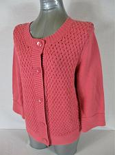 Buy CROFT & BARROW womens Large 3/4 SLEEVE PINK BUTTON DOWN CARDIGAN SWEATER (Z)P