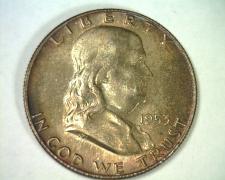 Buy 1953-D FRANKLIN HALF DOLLAR GEM+ UNCIRCULATED FULL BELL LINES FBL NICE TONING