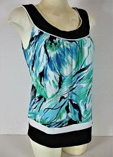 Buy AGB womens Small sleeveless aqua black white green STRETCH top (T)