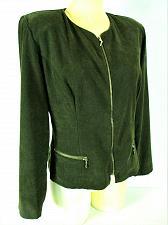 Buy WORTHINGTON womens Sz 8 L/S olive green Gold ZIP faux SUEDE jacket (C5)