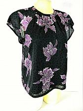Buy APT 9 womens Small S/S black white PURPLE FLORAL stretch fully LINED top (B4)