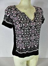 Buy WHITE HOUSE BLACK MARKET womens Sz 2 S/S black purple white ZIPPER back top (V)P