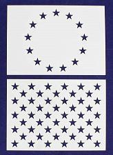 "Buy 2 Pc- 5"" x 7"" -13 Star Revolutionary War & 50 Star Fields. Stencils"