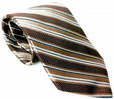 Buy Ike Behar Men's Dress Necktie 100% Silk Striped Brown Blue