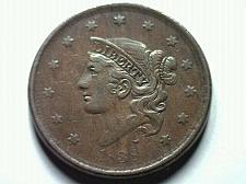 Buy 1838 LARGE CENT PENNY EXTRA FINE / ABOUT UNCIRCULATED XF / AU N.6 NICE ORIGINAL