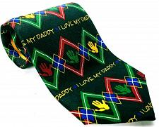 Buy Ralph Marlin I Love My Daddy Argyle Men's Silk Necktie Novelty Black Red Green