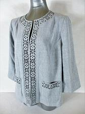 Buy ALFRED DUNNER womens Sz 12 L/S gray CUT OUT FLOWER TRIM w STONES jacket (A3)